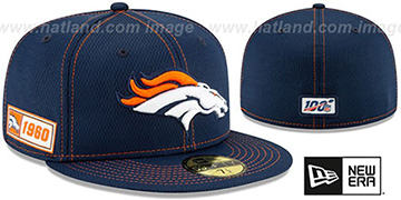 Broncos ONFIELD SIDELINE ROAD Navy Fitted Hat by New Era