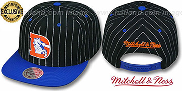 Broncos 'PINSTRIPE 2T TEAM-BASIC SNAPBACK' Black-Royal Adjustable Hat by Mitchell & Ness