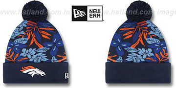 Broncos 'SNOW-TROPICS' Navy Knit Beanie Hat by New Era