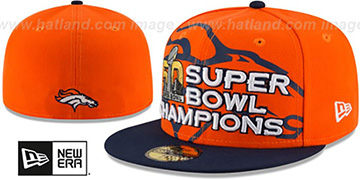 Broncos 'SUPER BOWL 50 CHAMPS' Orange-Navy Fitted Hat by New Era