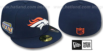 Broncos 'SUPER BOWL XXXIII' Navy Fitted Hat by New Era