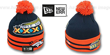 Broncos SUPER BOWL XXXIII Navy Knit Beanie Hat by New Era
