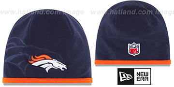 Broncos TECH-KNIT STADIUM Navy-Orange Knit Beanie Hat by New Era