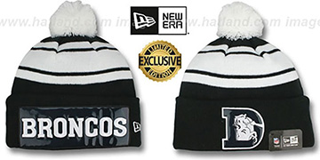 Broncos THROWBACK 'BIG-SCREEN' Black-White Knit Beanie Hat by New Era