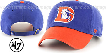 Broncos THROWBACK 'CLEAN-UP STRAPBACK' Royal-Orange Hat by Twins 47 Brand