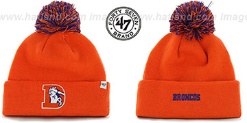 Broncos 'THROWBACK POMPOM CUFF' Orange Knit Beanie Hat by Twins 47 Brand