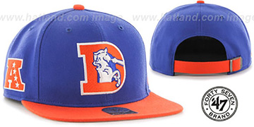 Broncos 'THROWBACK SUPER-SHOT STRAPBACK' Royal-Orange Hat by Twins 47 Brand