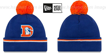 Broncos THROWBACK 'TEAM-RELATION' Royal-Orange Knit Beanie by New Era