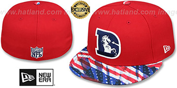 Broncos 'THROWBACK USA WAVING-FLAG' Red Fitted Hat by New Era