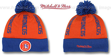 Broncos 'VERTICAL WORD BEANIE' Orange-Royal by Mitchell and Ness