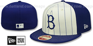 Brooklyn Dodgers VINTAGE-STRIPE White-Royal Fitted Hat by New Era