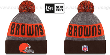 Browns '2016 STADIUM' Brown-Orange-Grey Knit Beanie Hat by New Era