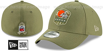 Browns 2019 SALUTE-TO-SERVICE FLEX Olive Hat by New Era