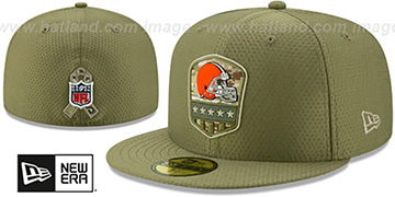Browns 2019 SALUTE-TO-SERVICE Olive Fitted Hat by New Era