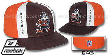 Browns 'AJD THROWBACK' Brown-Orange Fitted Hat by Reebok