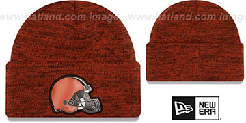 Browns 'BEVEL' Orange-Brown Knit Beanie Hat by New Era