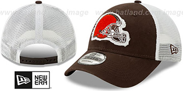 Browns FRAYED LOGO TRUCKER SNAPBACK Hat by New Era