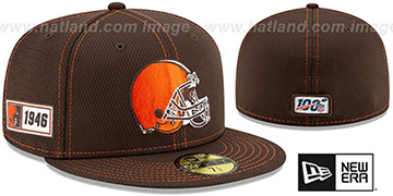 Browns ONFIELD SIDELINE ROAD Brown Fitted Hat by New Era
