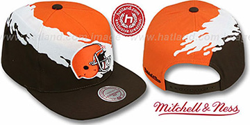 Browns PAINTBRUSH SNAPBACK Orange-White-Brown Hat by Mitchell & Ness