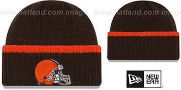 Browns RIBBED-UP Brown Knit Beanie Hat by New Era