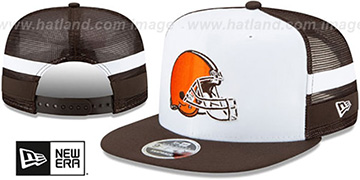 Browns SIDE-STRIPED TRUCKER SNAPBACK Hat by New Era