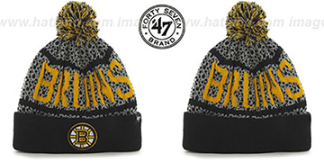 Bruins BEDROCK Black-Grey Knit Beanie Hat by Twins 47 Brand