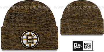 Bruins BEVEL Gold-Black Knit Beanie Hat by New Era