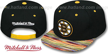 Bruins 'KNIT-WEAVE SNAPBACK' Black-Multi Hat by Mitchell and Ness
