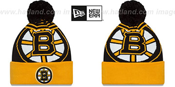 Bruins 'LOGO WHIZ' Black-Gold Knit Beanie Hat by New Era