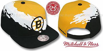 Bruins 'PAINTBRUSH SNAPBACK' Gold-White-Black Hat by Mitchell & Ness