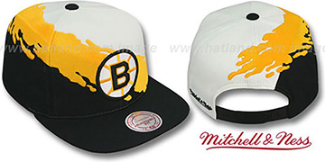 Bruins PAINTBRUSH SNAPBACK White-Gold-Black Hat by Mitchell & Ness