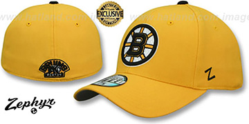 Bruins SHOOTOUT Gold Fitted Hat by Zephyr