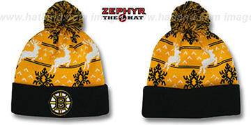 Bruins UGLY SWEATER Black-Gold Knit Beanie Hat by Zephyr