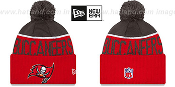 Buccaneers 2015 STADIUM Red-Grey Knit Beanie Hat by New Era