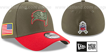 Buccaneers 2017 SALUTE-TO-SERVICE FLEX Green-Red Hat by New Era