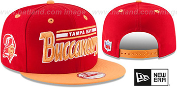Buccaneers '2T RETRO-SCRIPT SNAPBACK' Red-Orange Hat by New Era