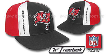 Buccaneers AJD PINWHEEL Black-Red Fitted Hat by Reebok