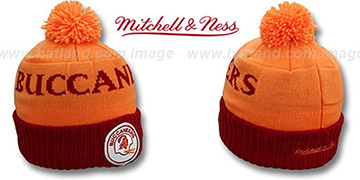 Buccaneers 'CUFF BEANIE-2' Orange-Red Knit Hat by Mitchell and Ness