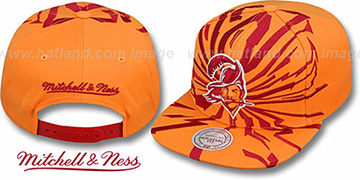 Buccaneers EARTHQUAKE SNAPBACK Orange Hat by Mitchell and Ness