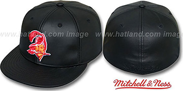 Buccaneers LEATHER THROWBACK Fitted Hat by Mitchell and Ness