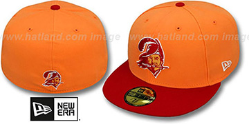 Buccaneers NFL 2T THROWBACK TEAM-BASIC Orange-Red Fitted Hat by New Era