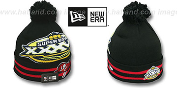 Buccaneers 'SUPER BOWL XXXVII' Black Knit Beanie Hat by New Era