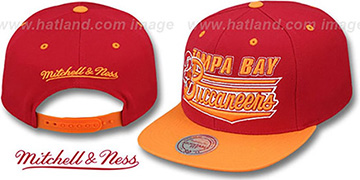 Buccaneers TAILSWEEP SNAPBACK Red-Orange Hat by Mitchell and Ness
