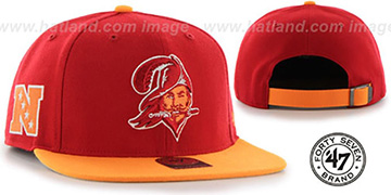Buccaneers THROWBACK SUPER-SHOT STRAPBACK Red-Orange Hat by Twins 47 Brand