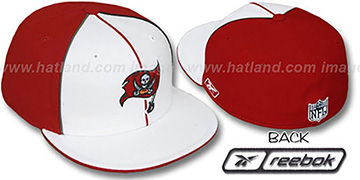 Buccaneers 'TRI PIPING PINWHEEL' White Red Fitted Hat by Reebok