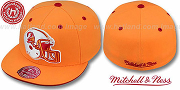 Buccaneers XL-HELMET Orange Fitted Hat by Mitchell and Ness