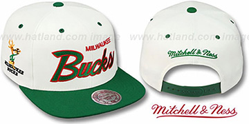 Bucks '2T TEAM-SCRIPT SNAPBACK' White-Green Hat by Mitchell & Ness