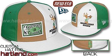 Bucks DW HARDWOOD 'OLD-SCHOOL' Wheat-White-Green Fitted Hat