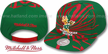 Bucks EARTHQUAKE SNAPBACK Green Hat by Mitchell & Ness