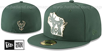 Bucks GOLD STATED METAL-BADGE Green Fitted Hat by New Era